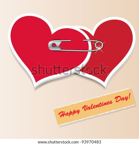 Valentine`s Day vintage hearts - stock vector