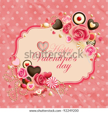 Valentine`s Day vintage pink card place for text. - stock vector