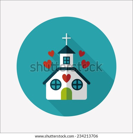 Valentine's Day wedding church flat icon with long shadow,eps10  - stock vector
