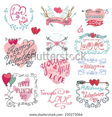 Valentine`s day,wedding,love,romantic elements calligraphy collection.Labels,emblems,frame,arrows,hearts,headline.Cute Doodle hand drawing decor set.Vintage vector,retro - stock vector