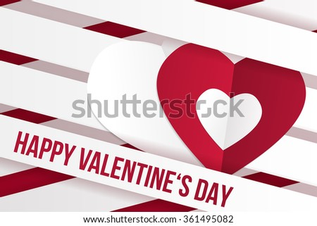 Valentine's day wish card vector illustration in red an white color