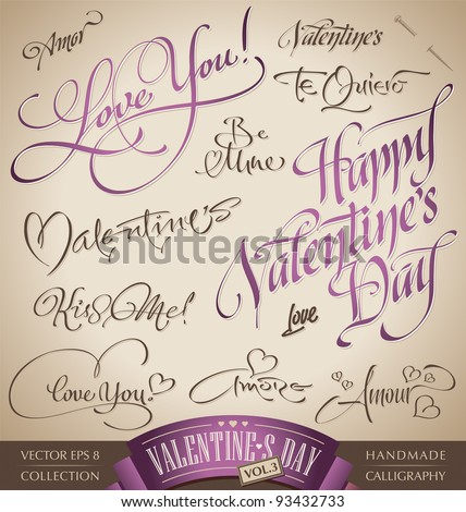 valentine's hand lettering set - 12 love themed handmade calligraphic inscriptions; scalable and editable vector illustration (eps8);