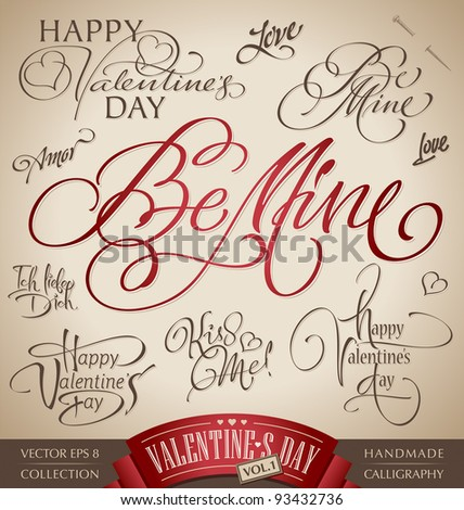 valentine's hand lettering set - 10 love themed handmade calligraphic inscriptions; scalable and editable vector illustration (eps8);