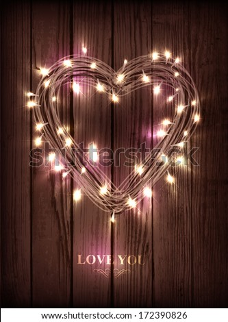 Valentine's heart-shaped wreath made of led lights on the wooden background  - stock vector