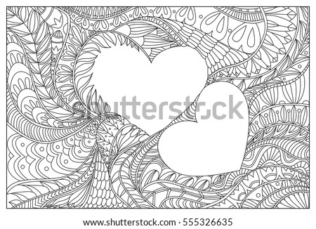 Valentines Hearts Coloring Page Adults Stock Vector 555326635 ...