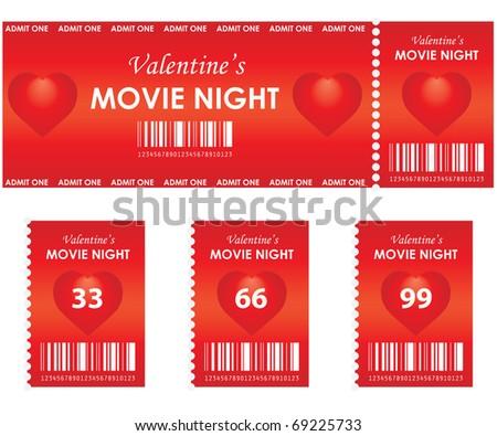 valentine's movie night - stock vector