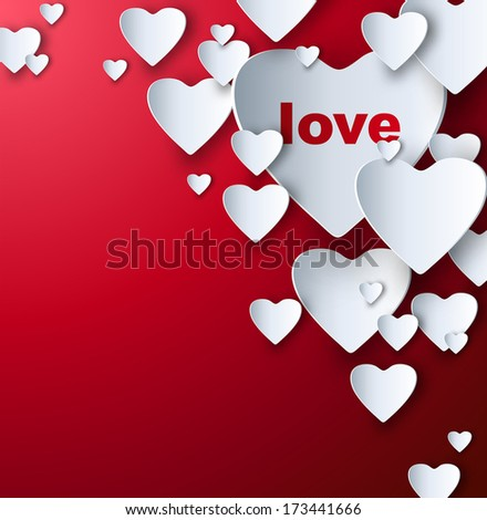 Valentine's red background with multiple paper look cutout hearts.  - stock vector