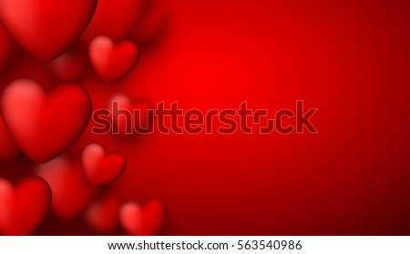 Valentine's red love background with 3d hearts. Vector illustration.