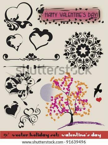 Valentine's Vector Set:  a complete illustration along with decorative heart theme elements. - stock vector