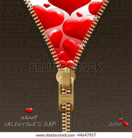 Valentine's zipper design - stock vector