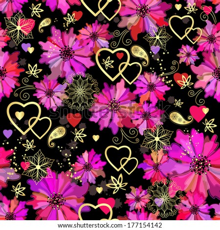 Valentine seamless dark floral grunge pattern with pink flowers  and hearts (vector eps 10)) - stock vector