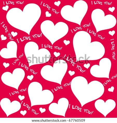 valentine seamless hearts pattern. I love you - stock vector