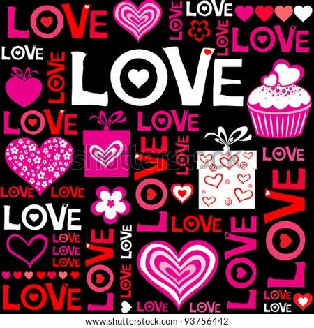 Valentine seamless hearts pattern. Vector Illustration - stock vector