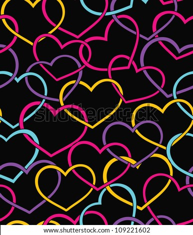 Valentine seamless pattern with color hearts - stock vector
