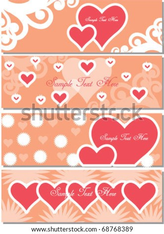 valentine set of headers