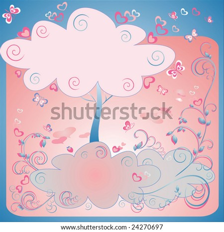 Valentine tree - stock vector