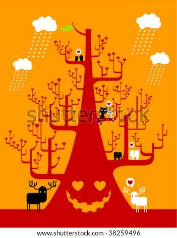 valentine tree - stock vector