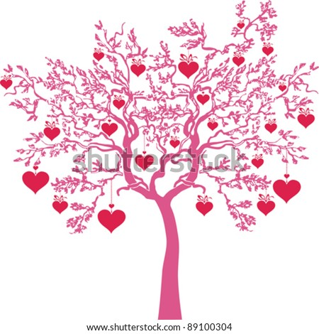 valentine tree isolated on White background. Vector illustration - stock vector