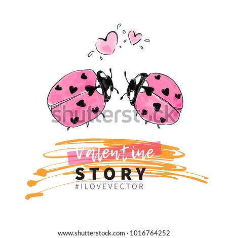 Valentine vector background love heart kids stock photo photo valentine vector background love heart kids drawing ladybug couple cute design stopboris Images