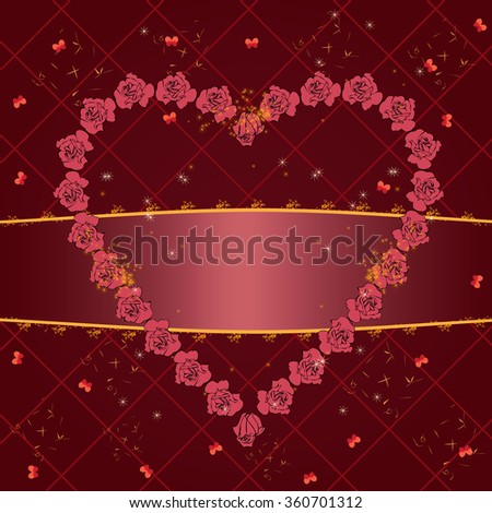 valentine vector frame with roses and butterflies - stock vector