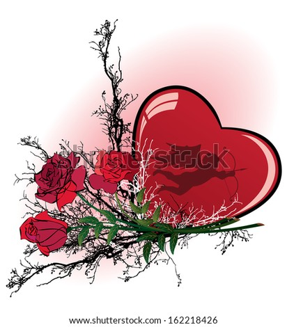 Valentine vector illustration with heart, rose and angel