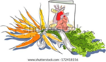 Valentine with humen heart and a bouquet of carrots.