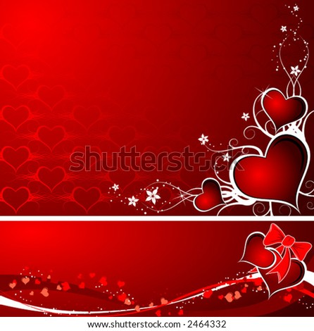 Valentines abstract background set with hearts, vector illustration