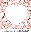 Valentines background with red hearts on light background - stock vector