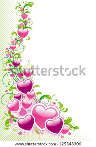 Valentines border. Vector funky ornament with hearts, ornate elements and leaves