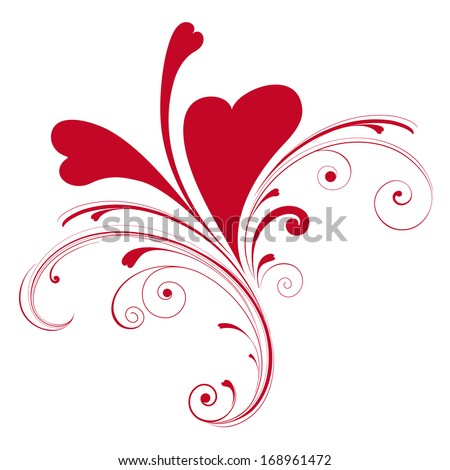 Valentines composition of the hearts. - stock vector