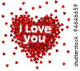 Valentines composition of the hearts. Vector illustration. - stock photo