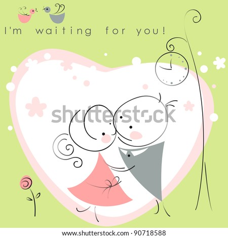 valentines couple,  meet on a date under the clock, green background of heart  . Vector illustration of Valentine card - stock vector