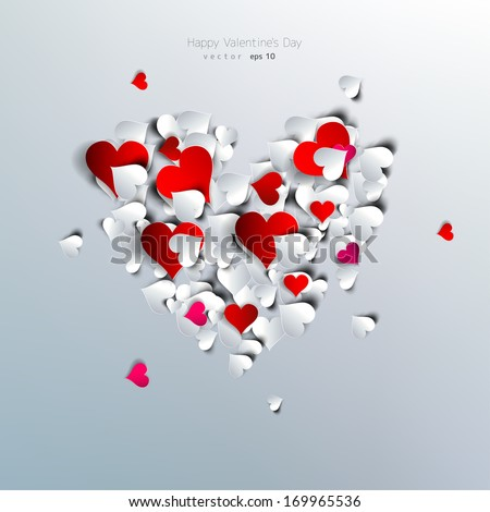 Valentines day. Abstract paper hearts. Love - stock vector