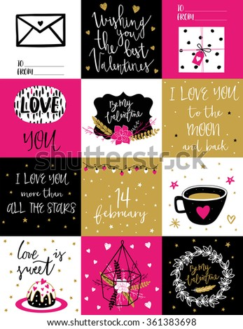 Valentines Day And Love Set Template For Stickers Greeting Scrapbooking Congratulations Invitations