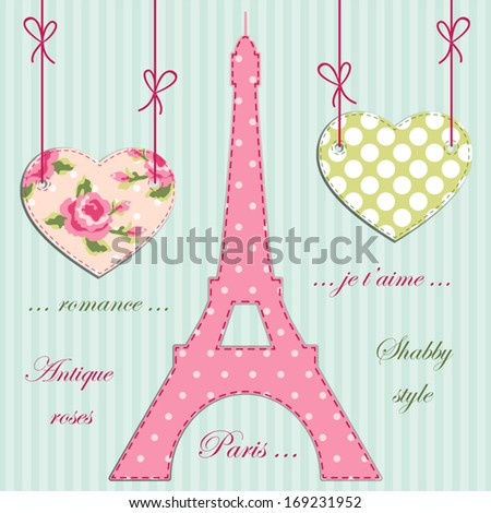 Valentines day background as patchwork fabric Eiffel tower of Paris with hearts on strings with roses in shabby chic style - stock vector