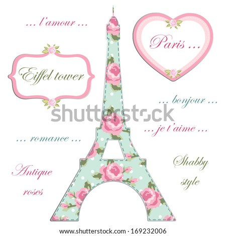 Valentines day background as patchwork fabric Eiffel tower of Paris with retro frames with roses in shabby chic style - stock vector
