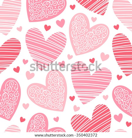 Valentines day background. Seamless pattern made of ornamental hearts of various size. Shades of red. Hearts pattern with lacy ornamentation and hatching.