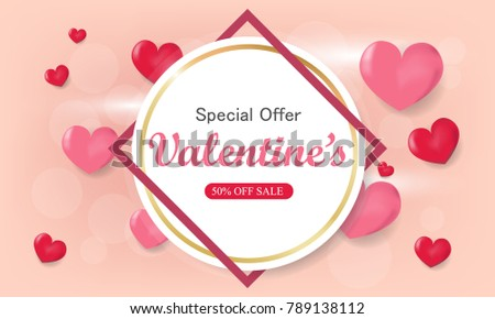 Valentines Day Big Sale Banner Background Stock Illustration ...