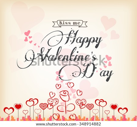 Valentines Day background with heart - stock vector