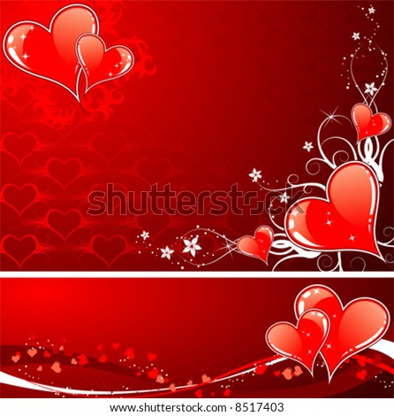 Valentines Day background with Hearts, flowers and wave, element for design, vector illustration