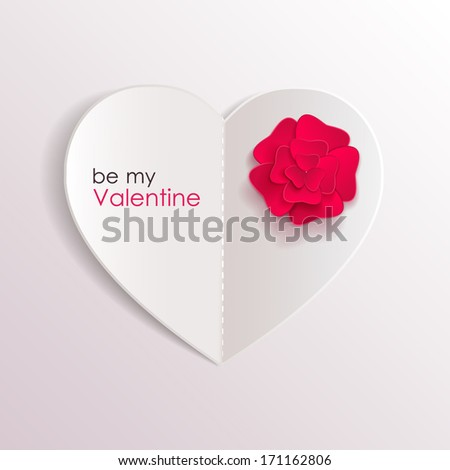 Valentines day background with paper heart and red flower. - stock vector