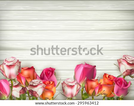 Valentines day background with roses over wooden table. Top view with copy space. EPS 10 vector file included - stock vector