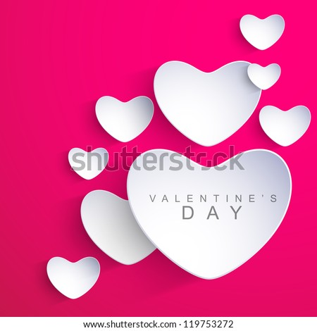 Valentines Day background with sticky in heart shape. EPS 10. - stock vector