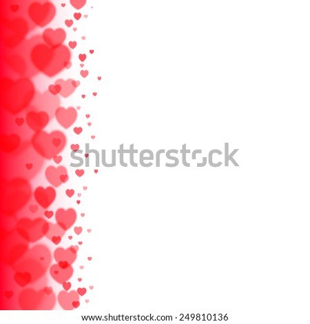 Valentines Day blur background with scattered blurred hearts on the left