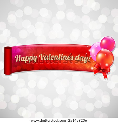 Valentines Day Bokeh Card With Gradient Mesh, Vector Illustration - stock vector
