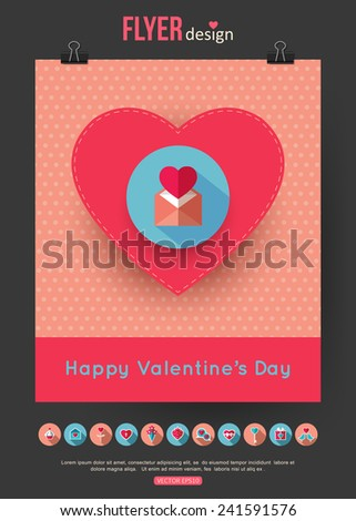 Valentines Day brochure template and set of flat valentines day icons. Abstract typographical flyer with place for text. Vector illustration. - stock vector
