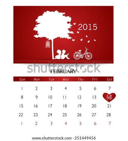 Valentines day. 2015 Calendar February. Vector illustration. - stock vector