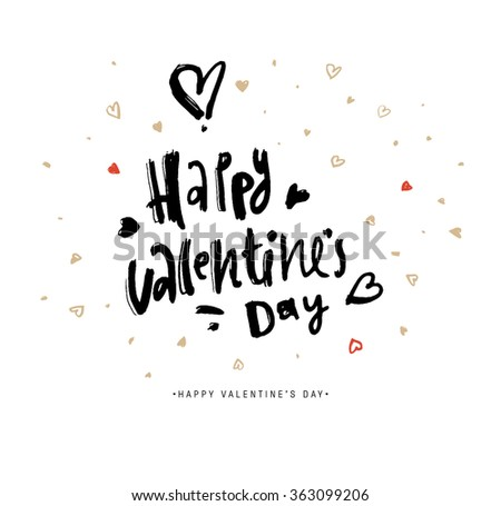 Valentines Day Calligraphy Greeting Card. Hand Drawn and Handwritten Design Elements.  Brush Lettering Design. - stock vector