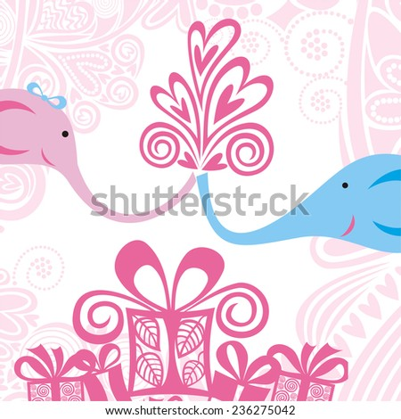 Valentines day card elephants hearts love vector illustration - stock vector