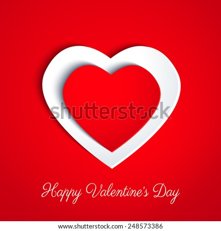 Valentines day card in minimalistic style. Paper colored hearts with drop shadows on white background. Happy Valentines Day lettering. Banner. Invitation design. Vector eps10 illustration. - stock vector